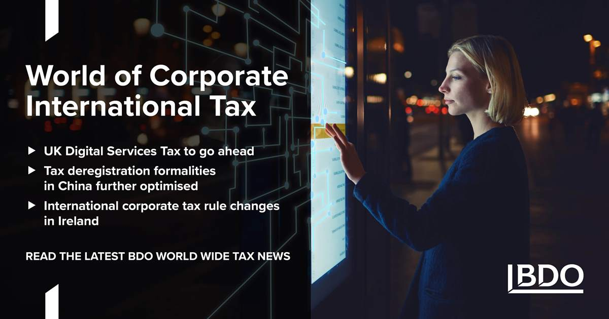 China Tax Deregistration Formalities Further Optimised Bdo